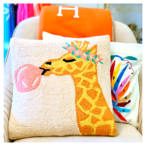 "Bubblegum Giraffe 16"" Wool Hook Pillow with Velvet Back"