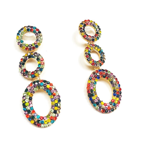 Multi Crystal Gemstone Triple Circle Chainlink Earrings