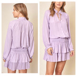 Lavender Smocked Waist Pleated Hem Flounce Dress