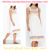 Off White Smocked Midi Dress with RicRac Trim Embroidery