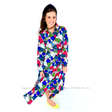 Pink Blue Multi Abstract Floral Button Down Dress with Banded Waist