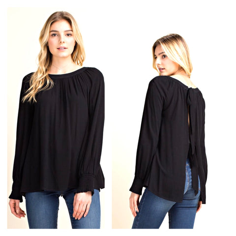 Black Smocked Long Sleeve Top with Open Bow Tie Back