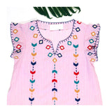 Pink White Stripe Embroidered Flutter Sleeve Top with Wispy Hem