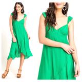 Kelly Green Textured Flutter Sleeve Cascading Bias Ruffle Midi Dress with Ruched Bust