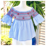 Blue White Stripe Smocked Cold Shoulder Top with Red Embroidered Stars + RHINESTONES!