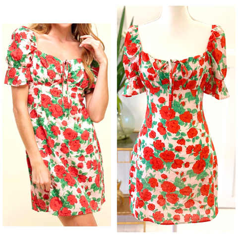 Blush Pink Red & Green Rose Print Ruffled Puff Sleeve Dress with Ruched Sweetheart Bust