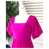 Magenta Pleated Trim Puff Sleeve Babydoll Dress with Bow Back
