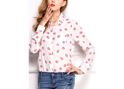 Kissy Kissy Collared Button Down Top, White & Red