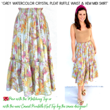 Grey Watercolor Crystal Pleat Ruffle Waist & Hem Midi Skirt