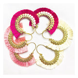 Magenta, Ivory or Coral Gold Tassel Fan Hoops