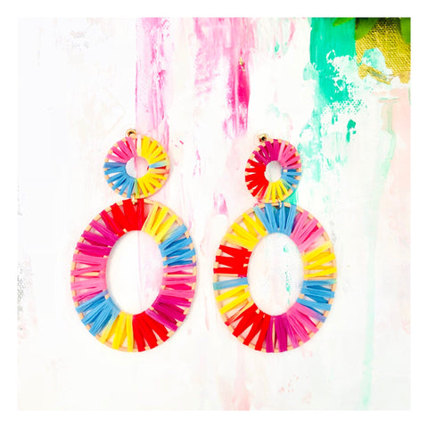 Rattan Rainbow Oval Drop Earrings