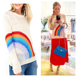 Rainbow Natural Summer Knit Tunic Sweater