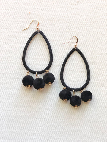 Black Teardrop Pom Pom Earrings
