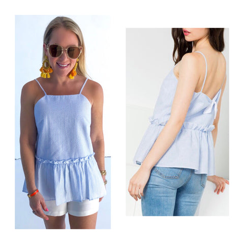 Blue Seersucker Peplum Top with Bow Back & Ruffle Waist