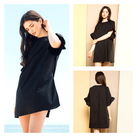 Black Bell Sleeve Romper Dress with Pleated Back