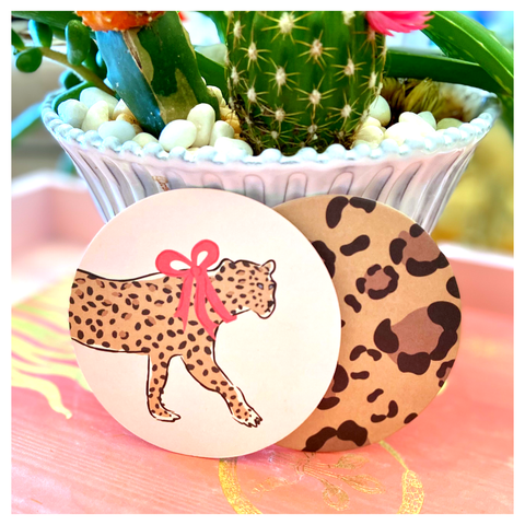 Pink Leopard 8 Piece Double Sided Pulp Board Coaster Set