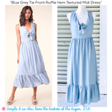 Blue Grey Tie Front Ruffle Hem Textured Midi Dress