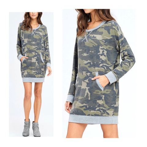 Camo Long Sleeve French Terry Knit Dress with Kangaroo Pocket & Grey Banded Contrast