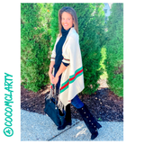 Red & Green Stripe Designer Inspired Poncho Shawls in PINK, Black, Tan, Navy, Grey & Ivory