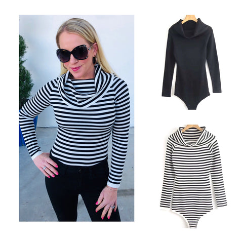 Black or Black Striped Cowl Neck Bodysuit