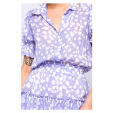 Lavender & White Petal Print Puff Sleeve Dress with Ruffle Trim