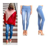 Light Blue Denim High Waisted Leggings with Contrast Ankle Hem
