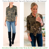 Camo Button Down Top with Optional Roll Tab Sleeves