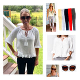 White Ruffle Knit 1/2 Sleeve Top with Tassel Tie