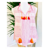 Pink & White Textured Sleeveless Ruffle Neck Top with Pink & Orange Tassel Ties