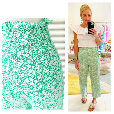 Bright Green & White Floral Print Ruffle High Waist Cropped Wide Leg Pants for Beach or Day
