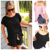 Hot Pink, White, Black OR Light Pink Ruffle Sleeve Top with Flyaway Back
