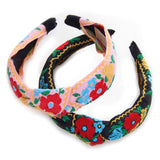 Black or Pink Floral Embroidered Top Knot Headband