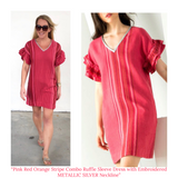 Pink Red Orange Stripe Combo Ruffle Sleeve Dress with Embroidered METALLIC SILVER Neckline