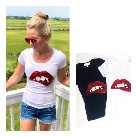 White OR Black Sequin Lips Tee