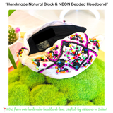 Handmade Natural Black & NEON Beaded Headband