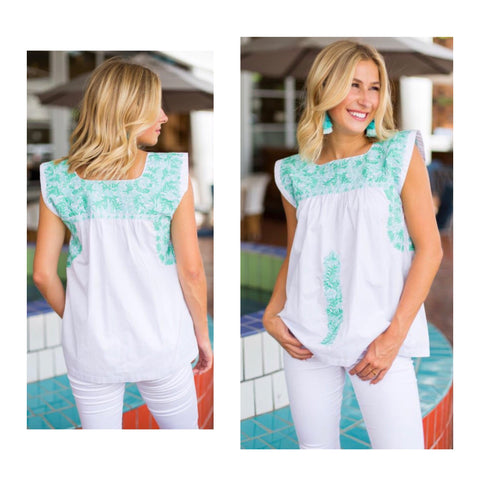 Turquoise & White Embroidered Textile Top