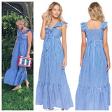 Blue White Stripe Flutter Sleeve Maxi Dress with Smocked Back