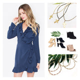 Navy Ruffle Hem Long Sleeve Wrap Dress with Self Tie Waist