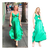 Emerald Green Front Tie Maxi Dress with Subtle Side Ruffles