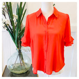 Poppy Red OR Black Button Down Relaxed Fit Tiered Ruffle Sleeve Blouse