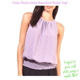 Lilac Swiss Dots Smocked Waist Top