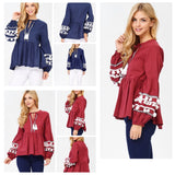 Navy OR Wine Red Long Sleeve Pom Pom Tunic with Tassel Tie