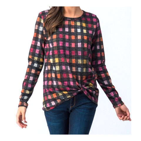 Charcoal & Multicolor Buffalo Check Twist Front High Low Long Sleeve Top