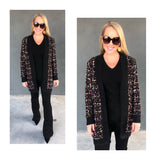 Black & METALLIC Gold Confetti Tweed Open Front Cardigan with METALLIC Gold Flecks & POCKETS