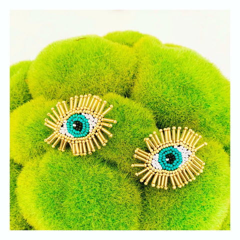 Gold & Turquoise Evil Eye Beaded Burst Earrings