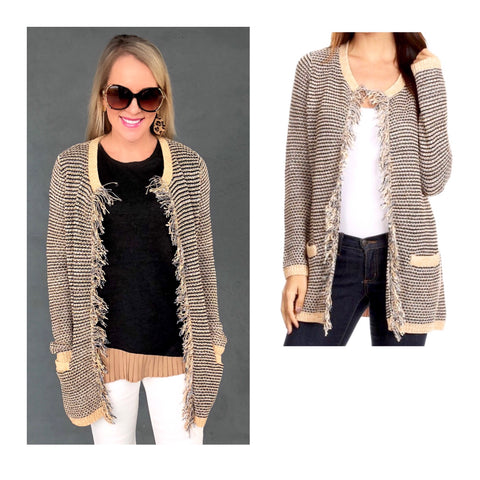 Taupe Round Knit Slim Fit Cardigan with Front Fringe Detail & Pockets