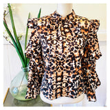 Leopard Print Tiered Balloon Sleeve Ruffle Blouse with Self Tie Bow Front & Keyhole Back