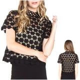 Black Crochet Lace Short Sleeve Top with Keyhole Back