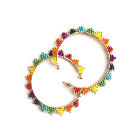 Handmade Gold Triangle Rainbow Beaded Hoops