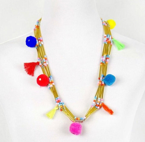 Multicolor Multi Strand Gold Pom Pom Necklace